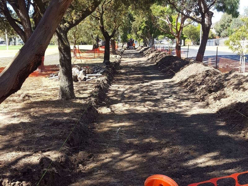 Construction for the circuit path at Ford Park in progress.