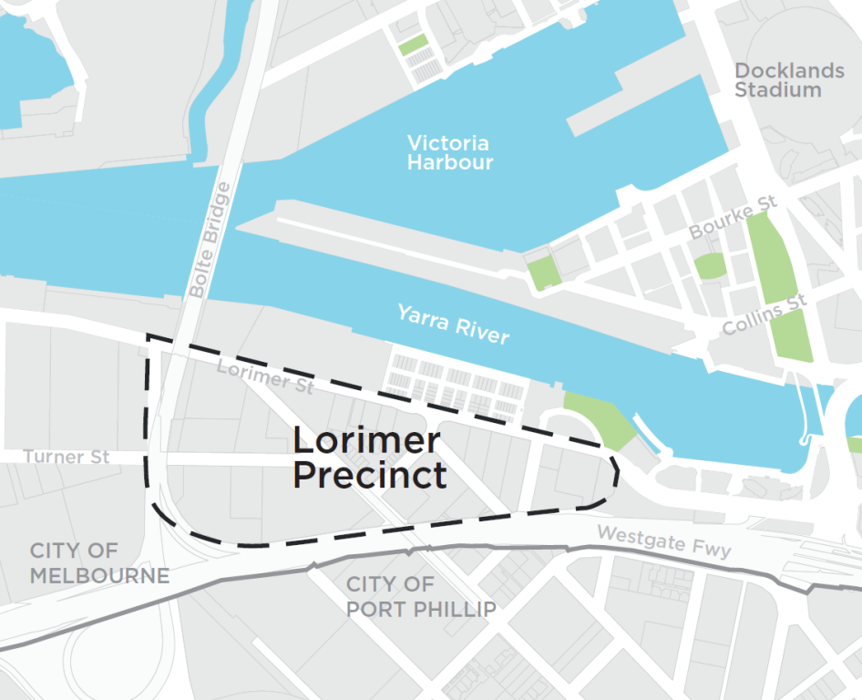 The map shows the location of the Lorimer precinct in relation to the Yarra River, Victoria Harbour, the Docklands Stadium and the City of Melbourne municipal boundary.