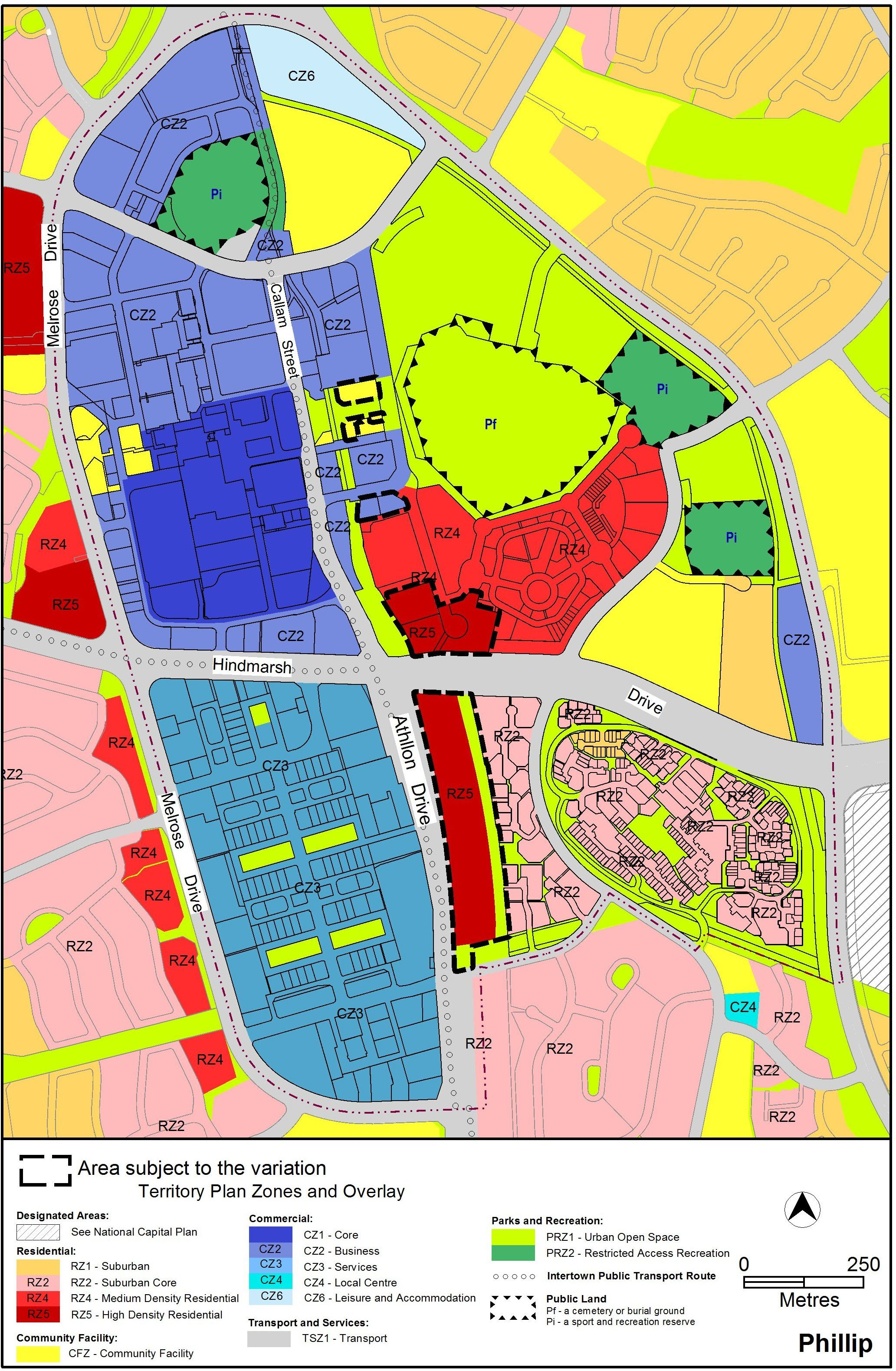 Map showing Woden Town Centre's proposed Territory Plan zoning