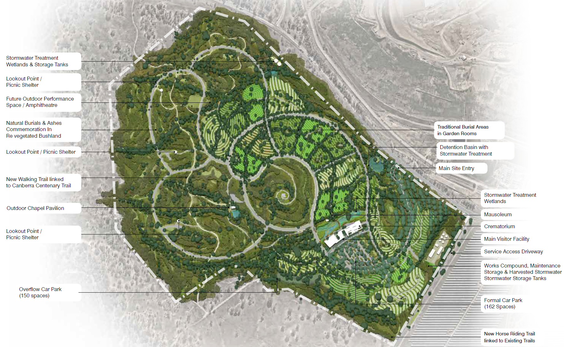 Image of the Southern Memorial Park masterplan with the key features outlined.