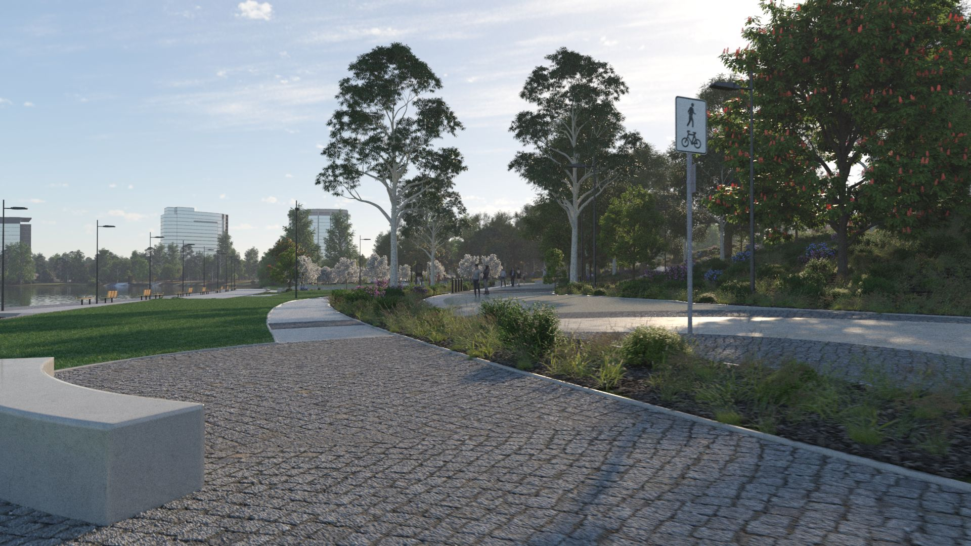 3D image of the interior paths and bench of the new park