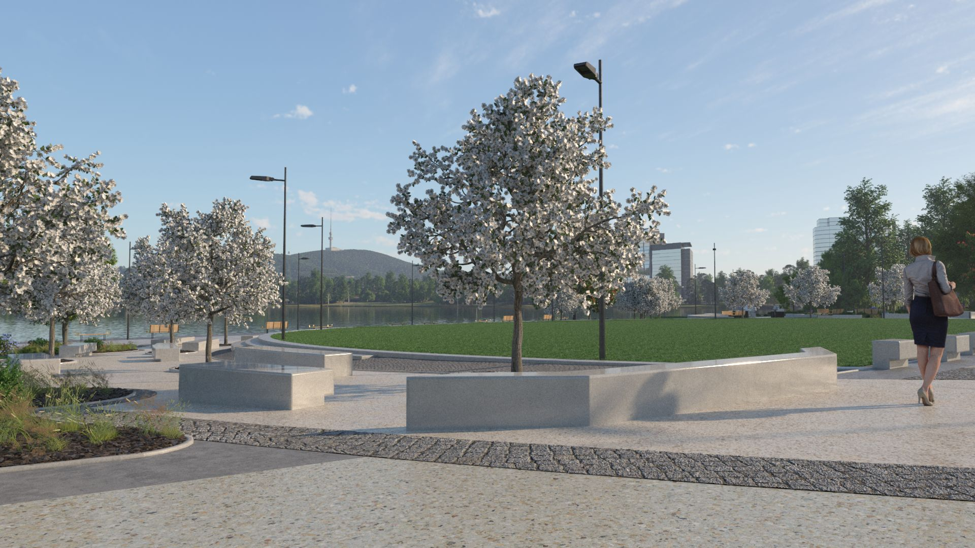 3D image of the centre park area overlooking Lake Burley Griffin.