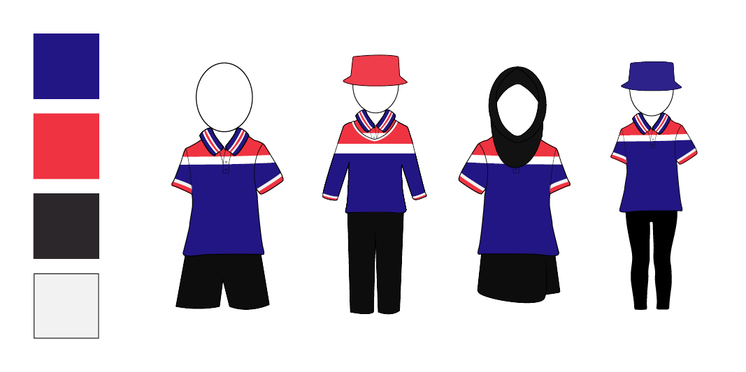 The blue/red option for the uniform