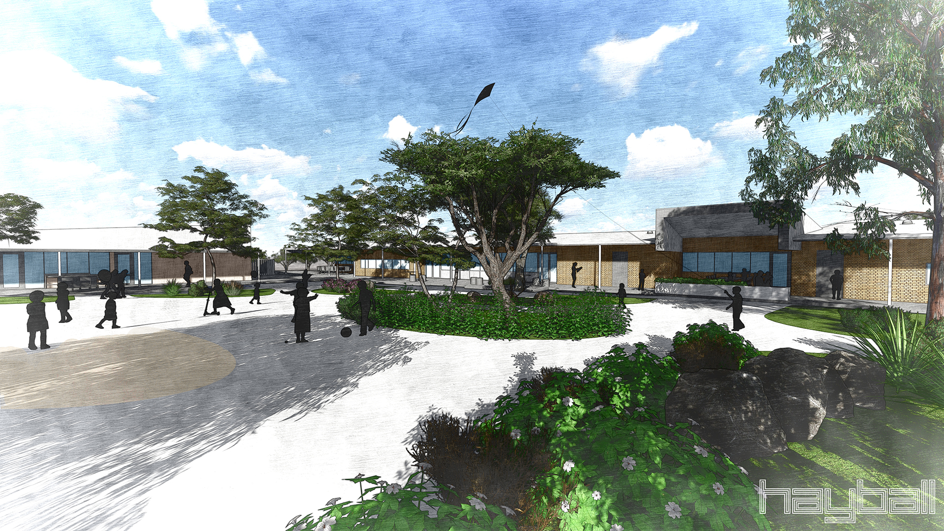 Artist rendering of the school's play area
