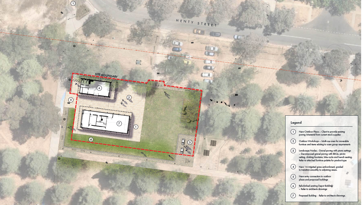 aerial site map showing two proposed buildings