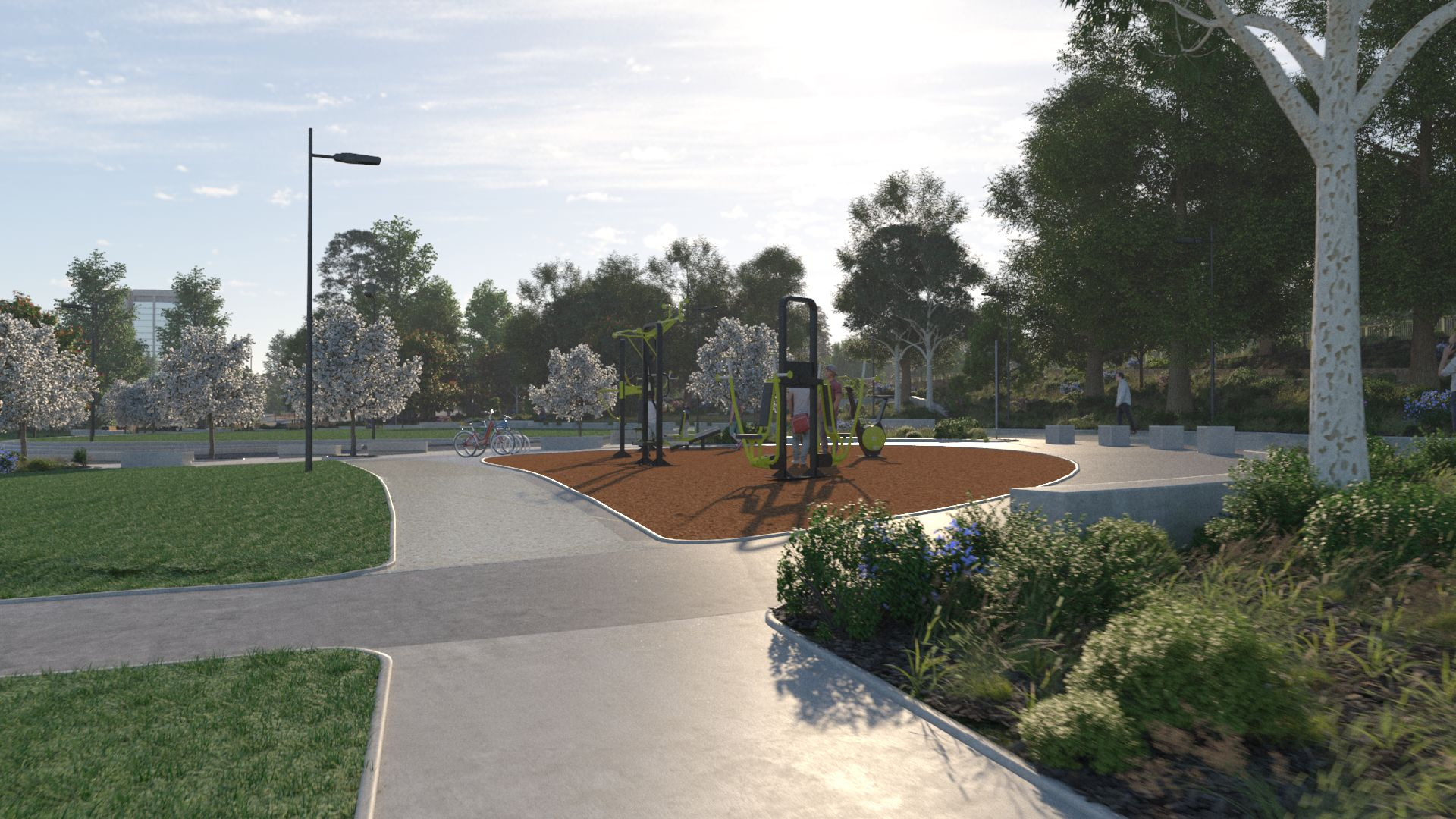 3D image of exercise facilities in the park