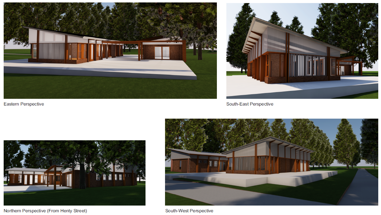 indicative computer-generated building perspectives showing two buildings with angled roofs and natural materials such as timber