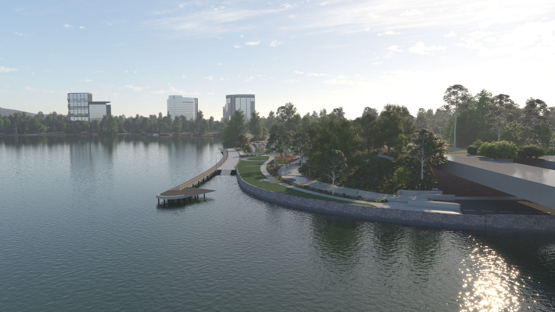 3D image of the new park from the southern bank of the lake
