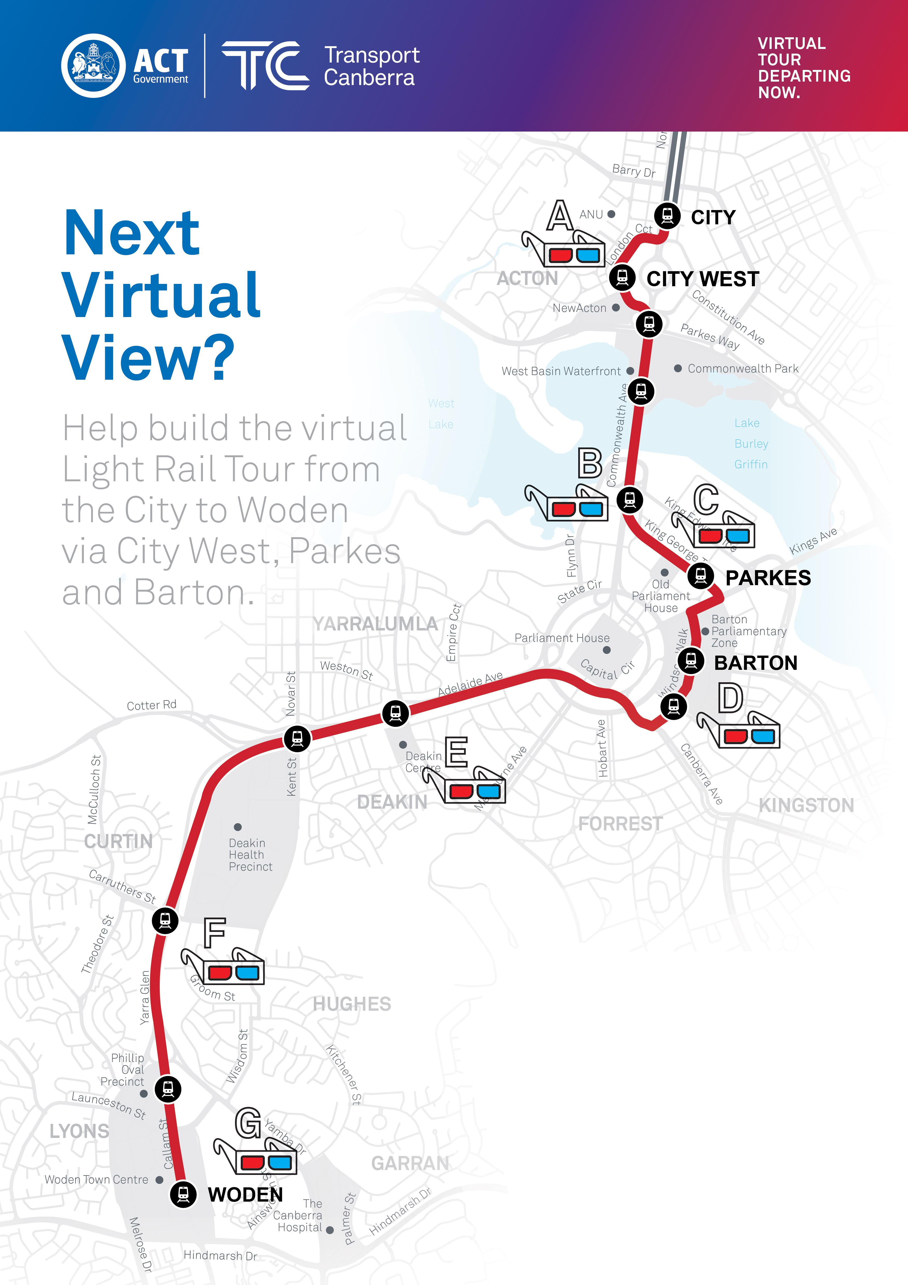 This map shows the seven locations where virtual reality views will be developed to create a virtual tour of the city to woden light rail route.