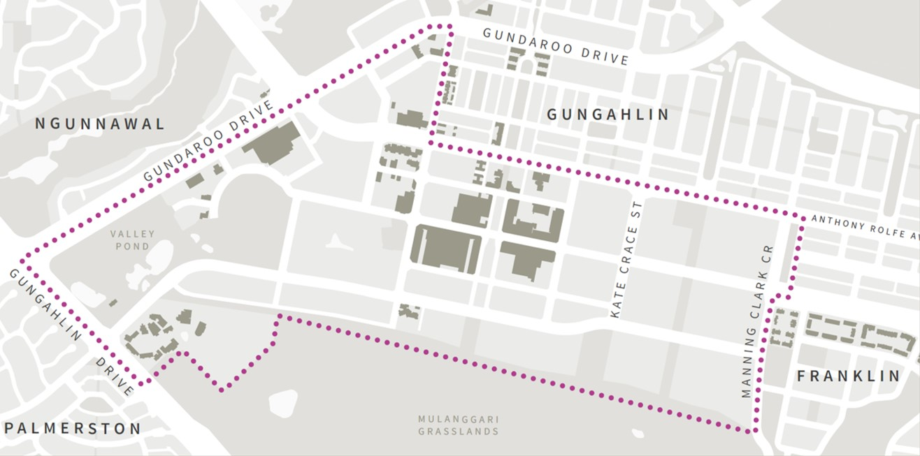 Map of Gungahlin Town Centre Refresh - study area