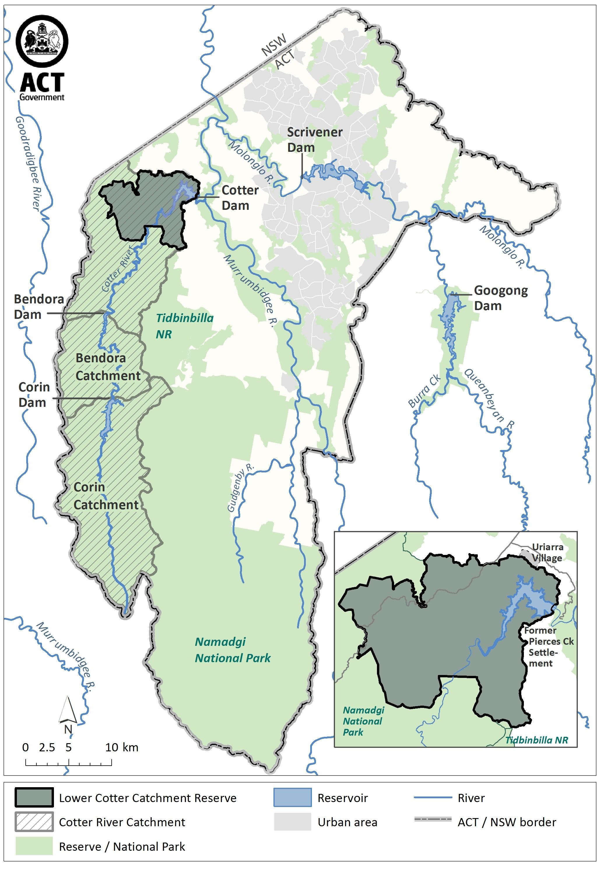 Cotter catchment map