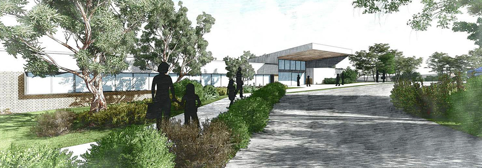 An artist rendering of the school's front office building