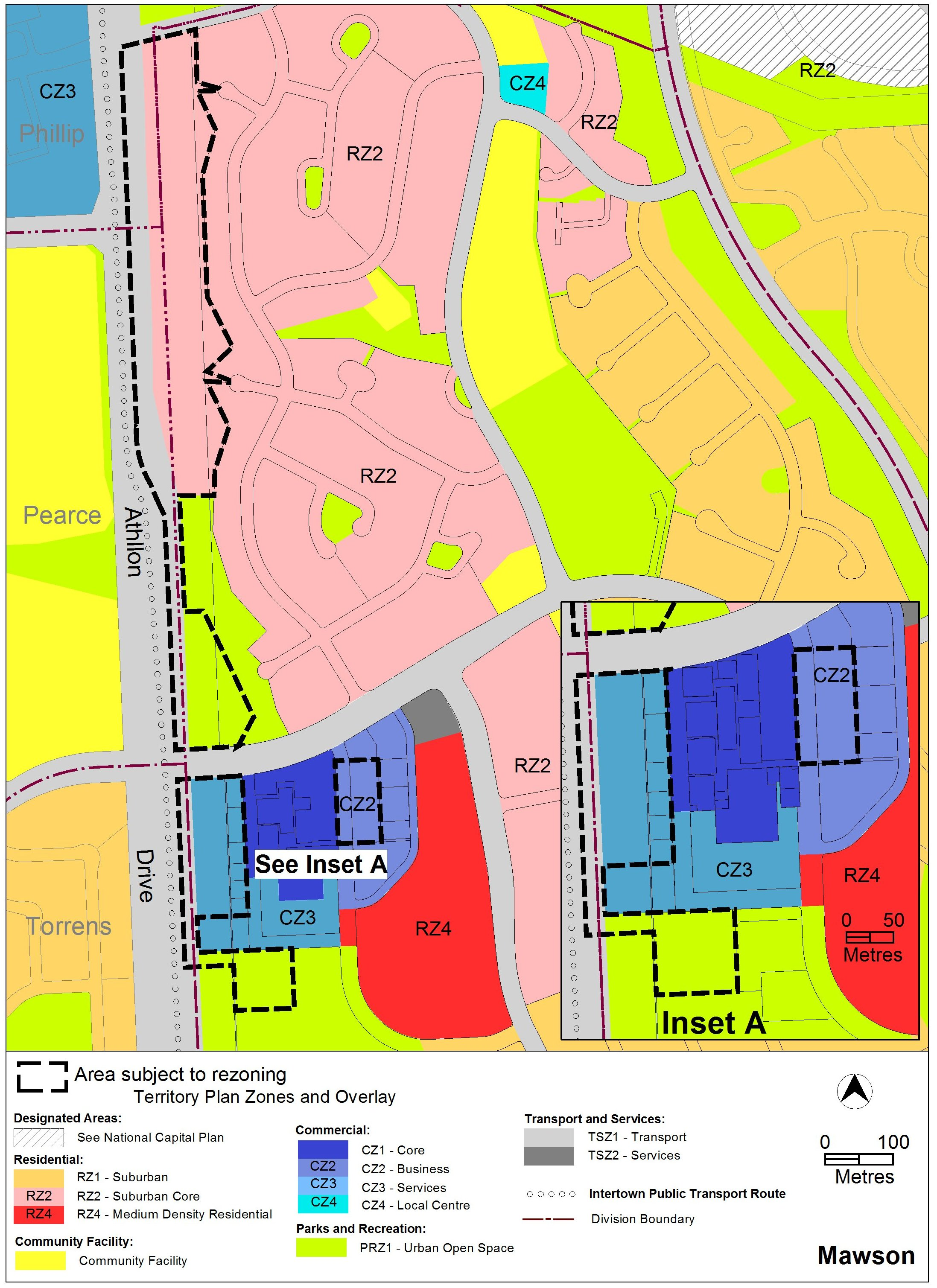 Map of Mawson Centre showing current Territory Plan zoning