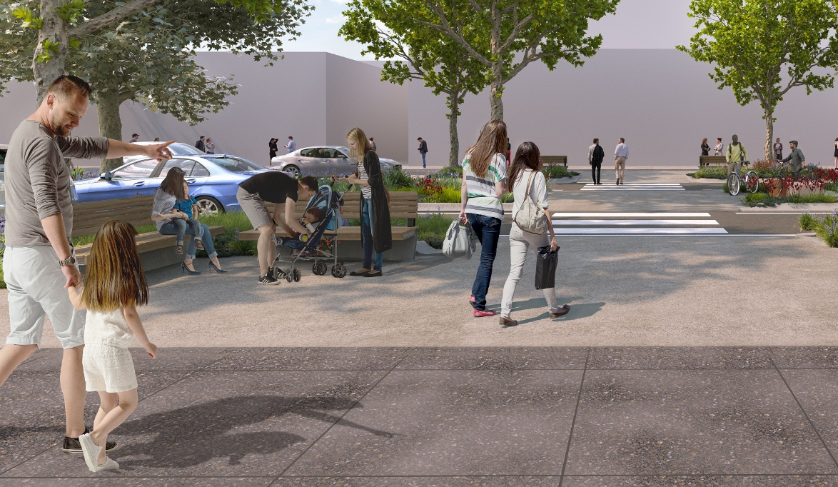 3D render of people approaching a pedestrian crossing surrounded by trees and gardens