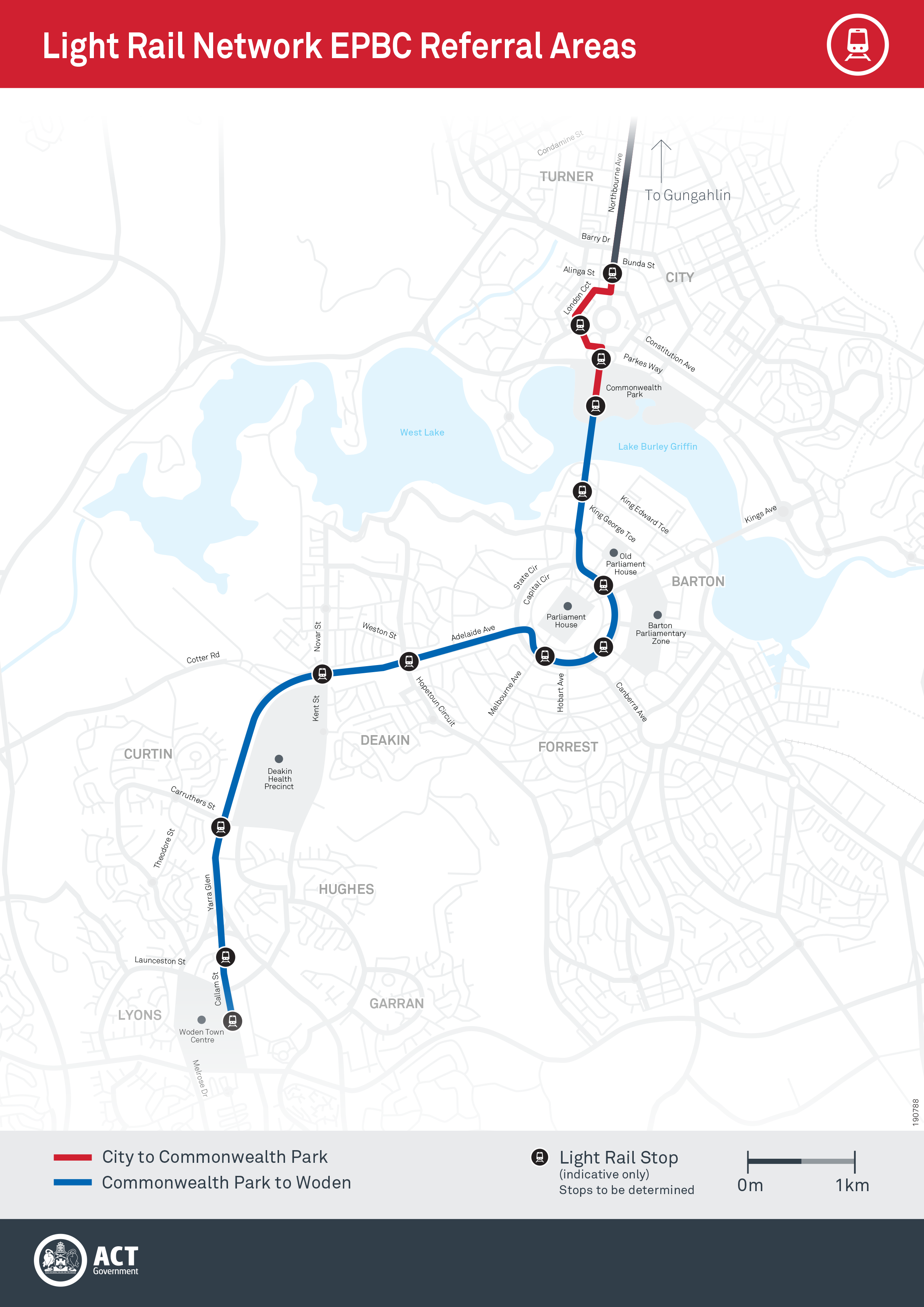 Light Rail Network Expansion map - Woden
