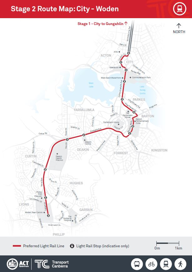 Route map city to woden