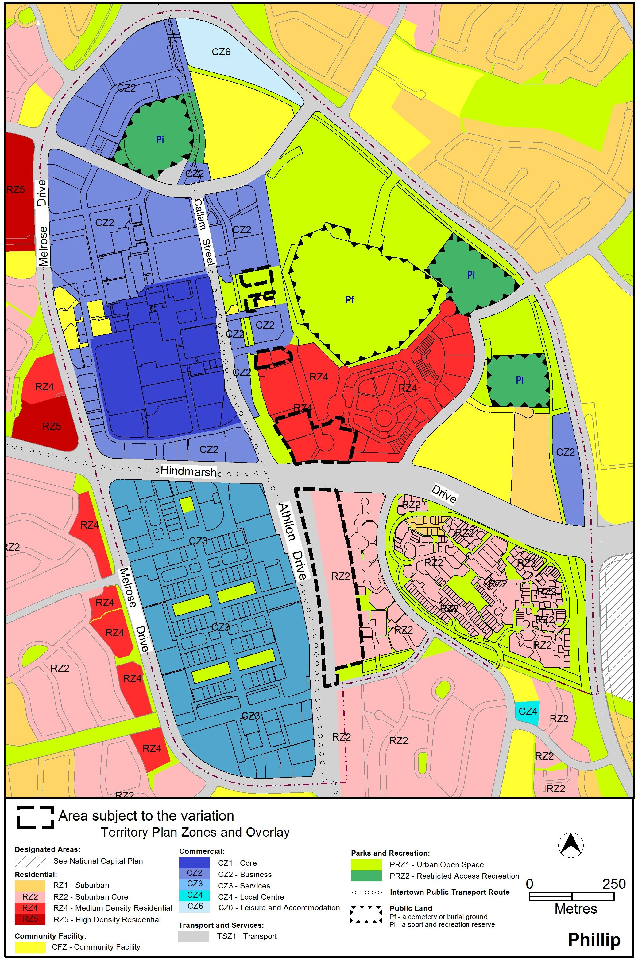 Map showing Woden Town Centre's current Territory Plan zoning