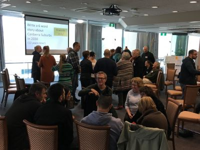 Better Suburbs Citizens' Forum in groups discussing Canberra suburbs in 2030