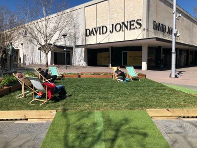 Petrie Plaza lawn and seating