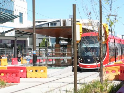 Image of light rail in action.