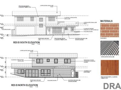 Residence B South and North elevation and materials