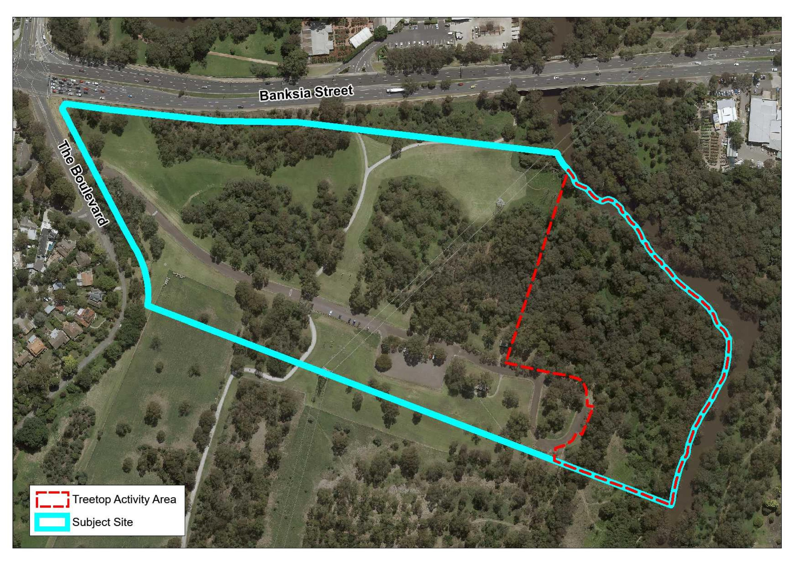 Site map with proposed treetop activity area