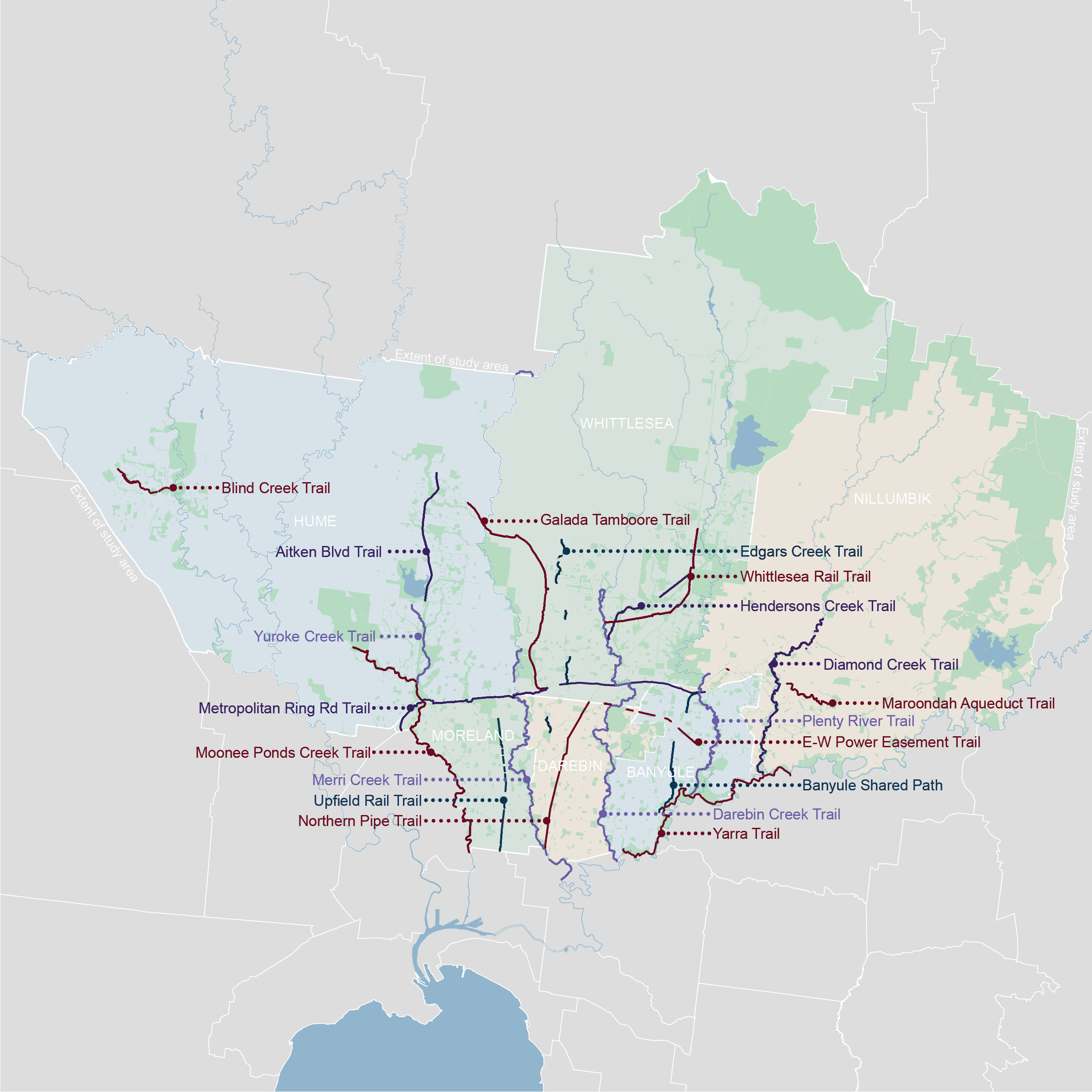 Map showing trails in the Northern region of Melbourne