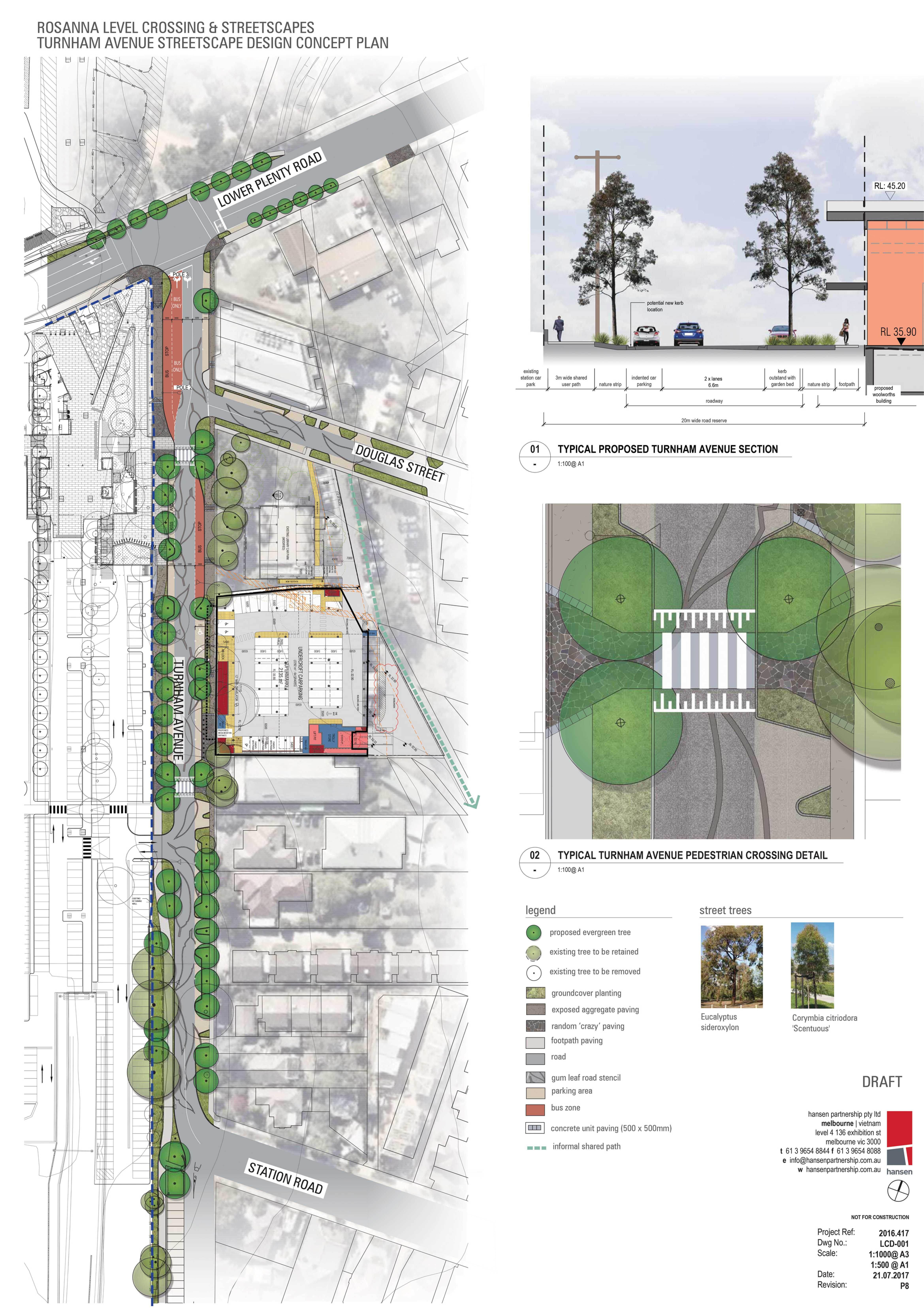 Drawings for the streetscape design of Turnham Avenue Rosanna - including trees, paving surfaces and pedestrian crossing.