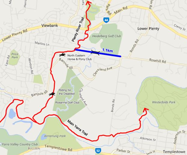 Investigation area for feasibility study for multi-purpose trail