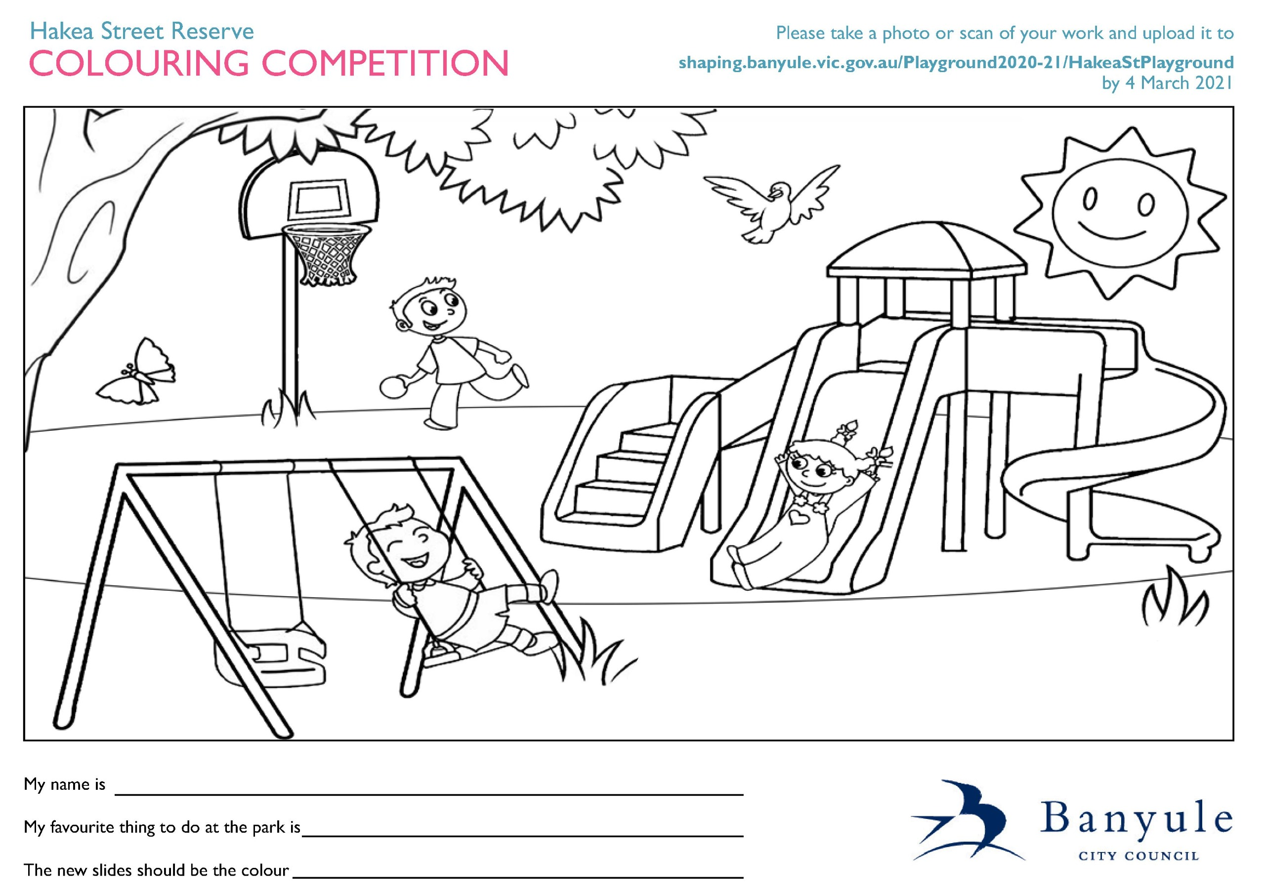 Hakea Street Reserve colouring competition entry form