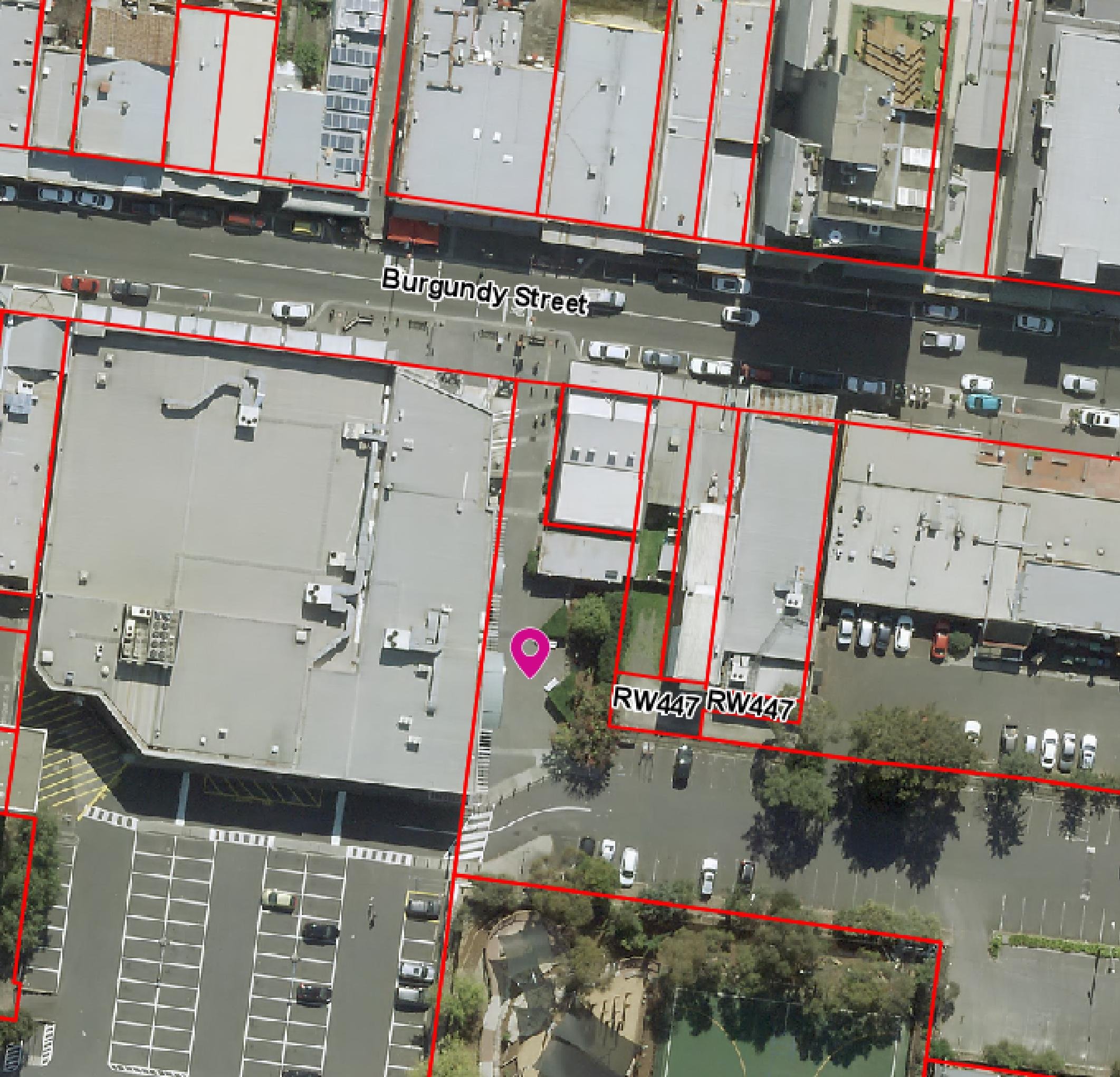 Aerial map of pop up park location