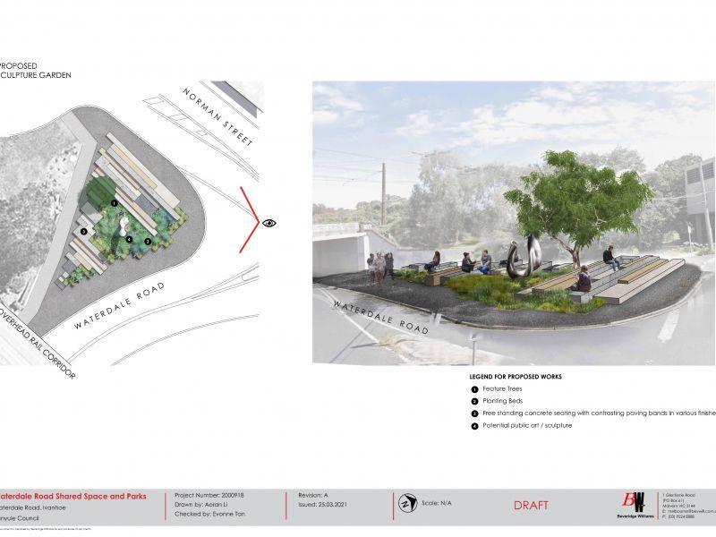 Proposed Waterdale Road Sculpture Garden render