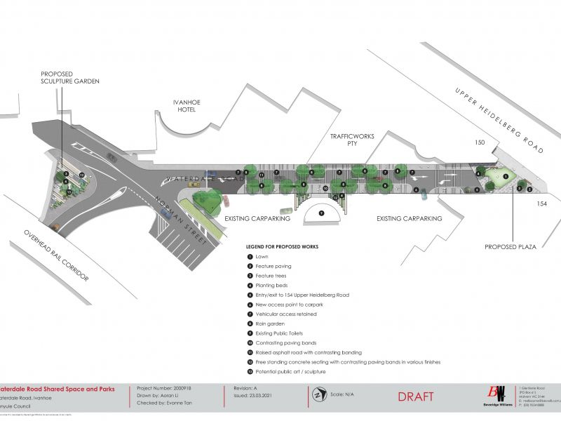 Waterdale Road Pocket Parks and Shared Zone layout plan