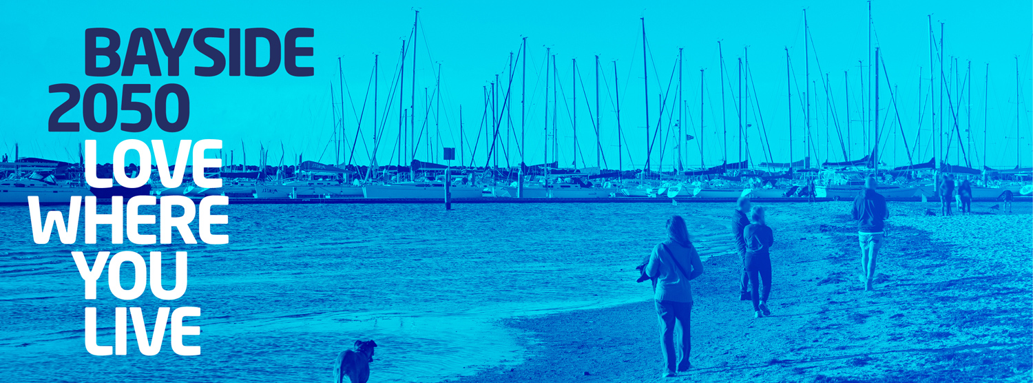 Bayside 2050. Love Where You Live. Beach scene with pedestrian, dog and yachts.