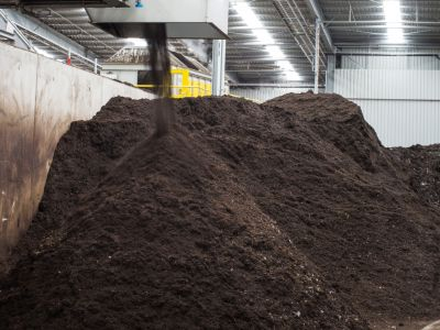 Pile of compost at organic waste processing facility