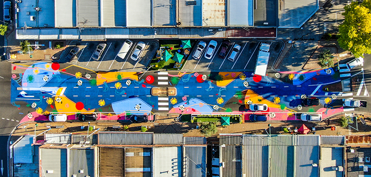 Birds eye view of the Glengala Road art