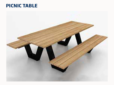 Wooden table top and bench seating with black frame