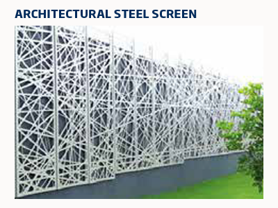White metal wall designed in an ad hoc arrangement of thin bars creating a birds net effect.