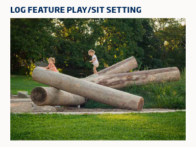 Arrangement of large smooth logs with children climbing on them