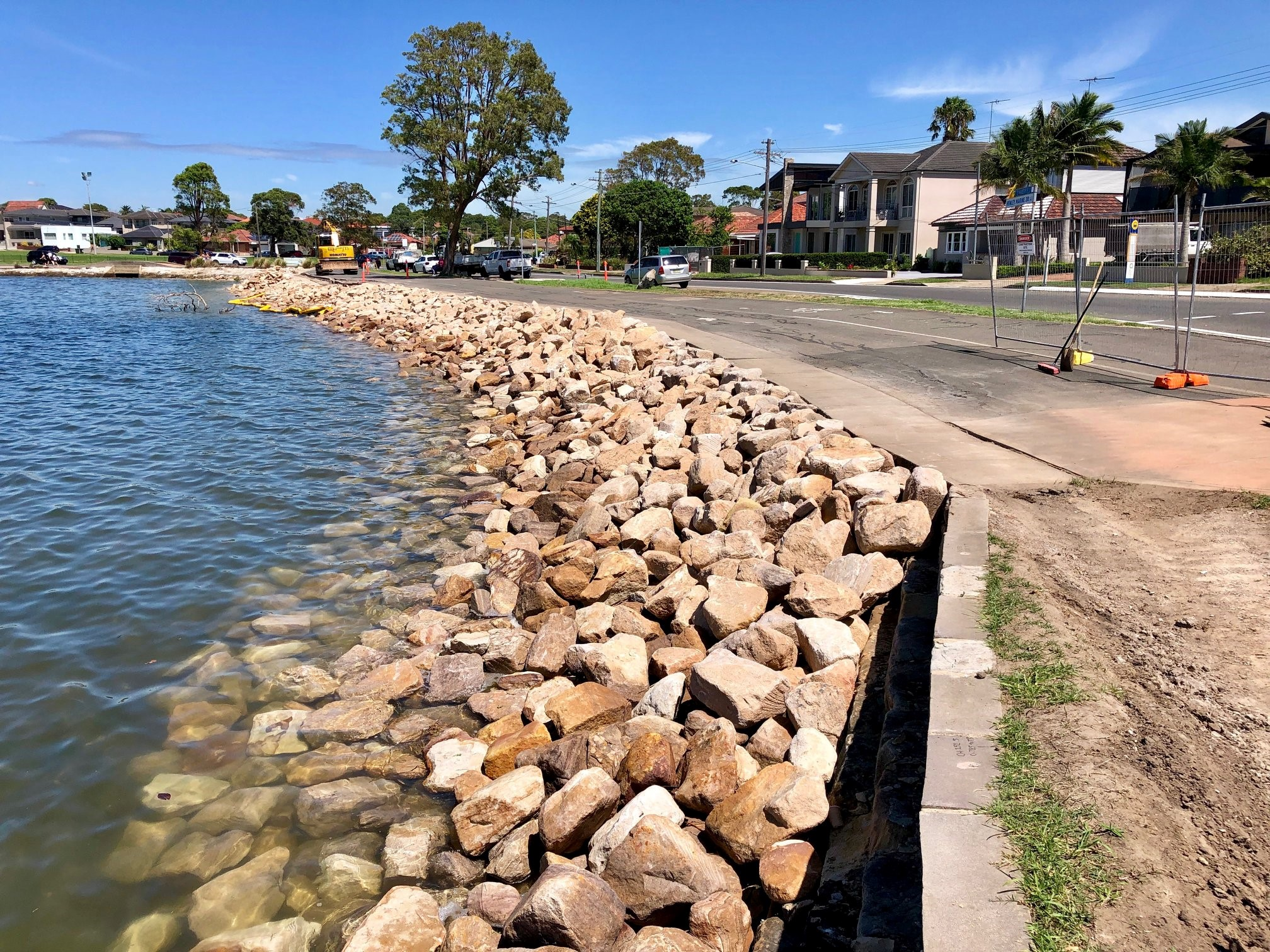 Completed sea wall (high tide)