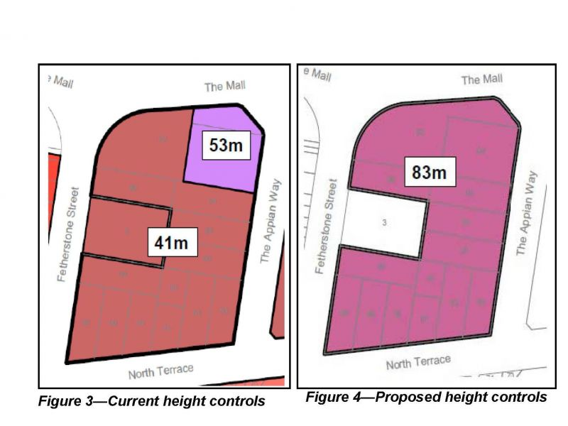 Figure 3 and 4 - Current and proposed height controls