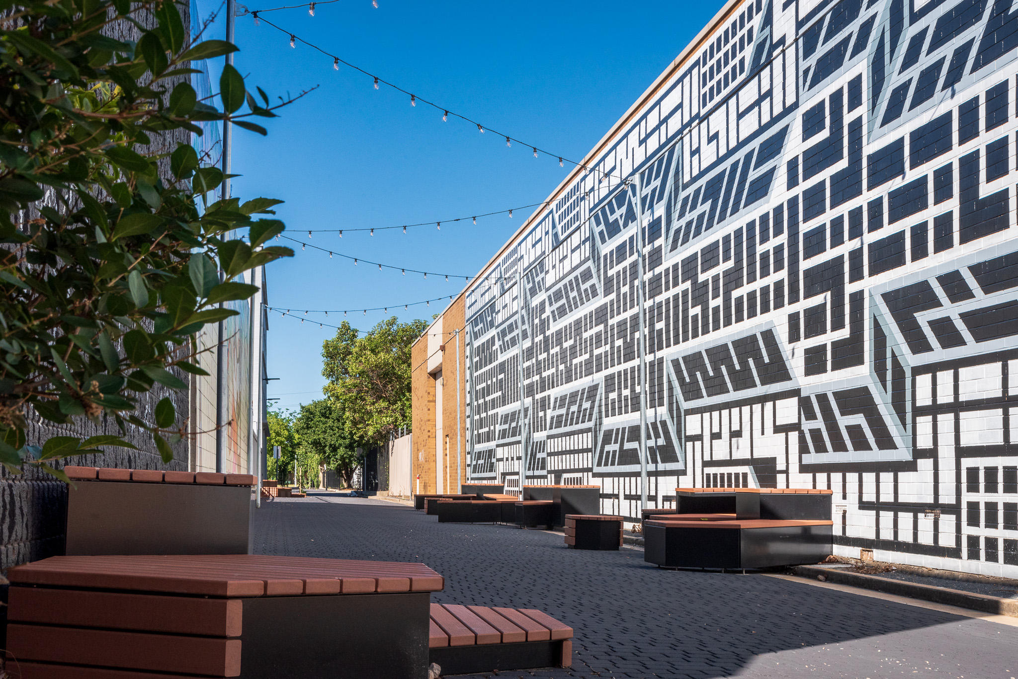 Crawford Lane, Hindmarsh, shared zone upgrade, art, seating and landscape
