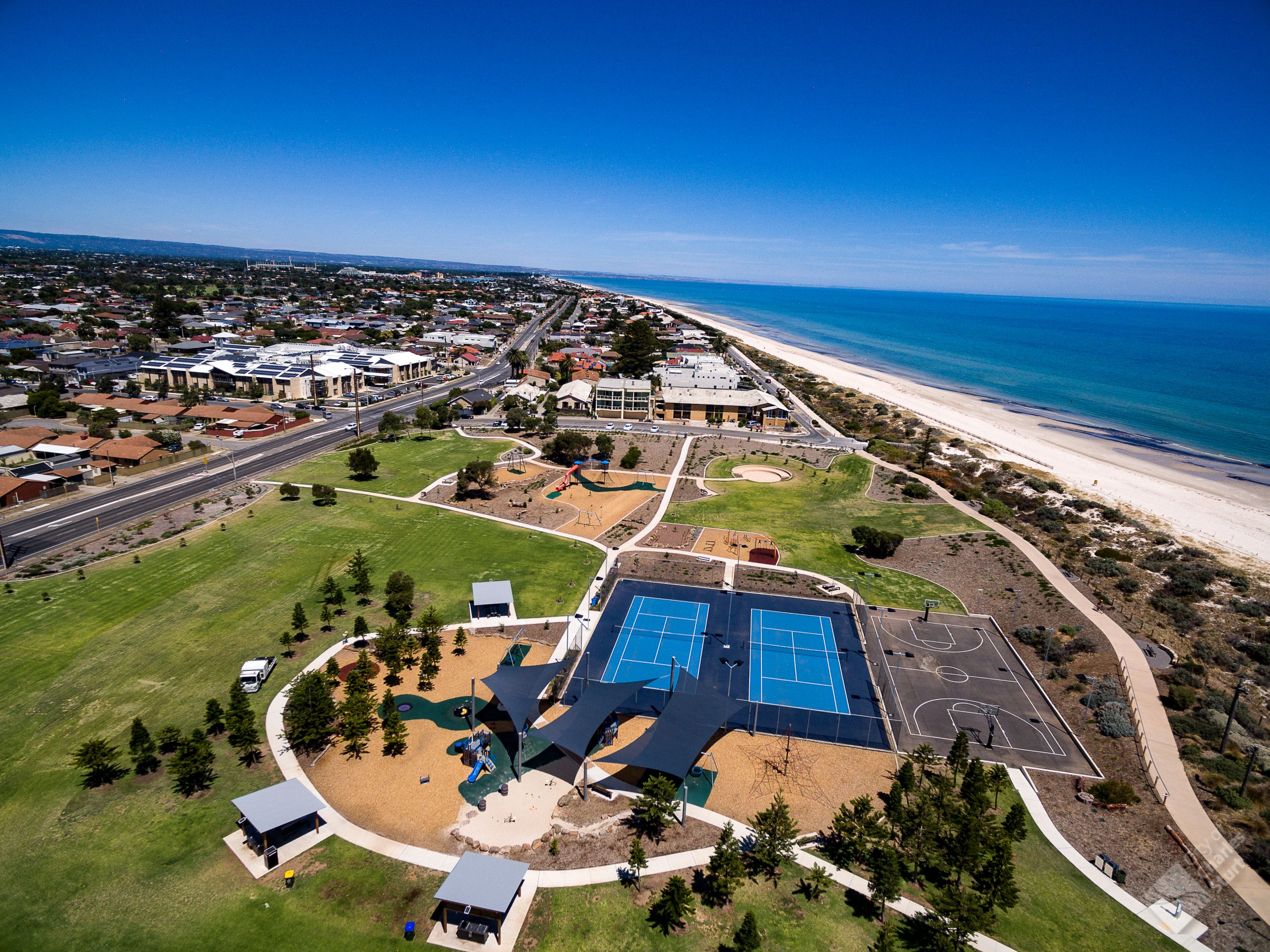 Aerial photo of Point Malcolm Reserve and surrounding area