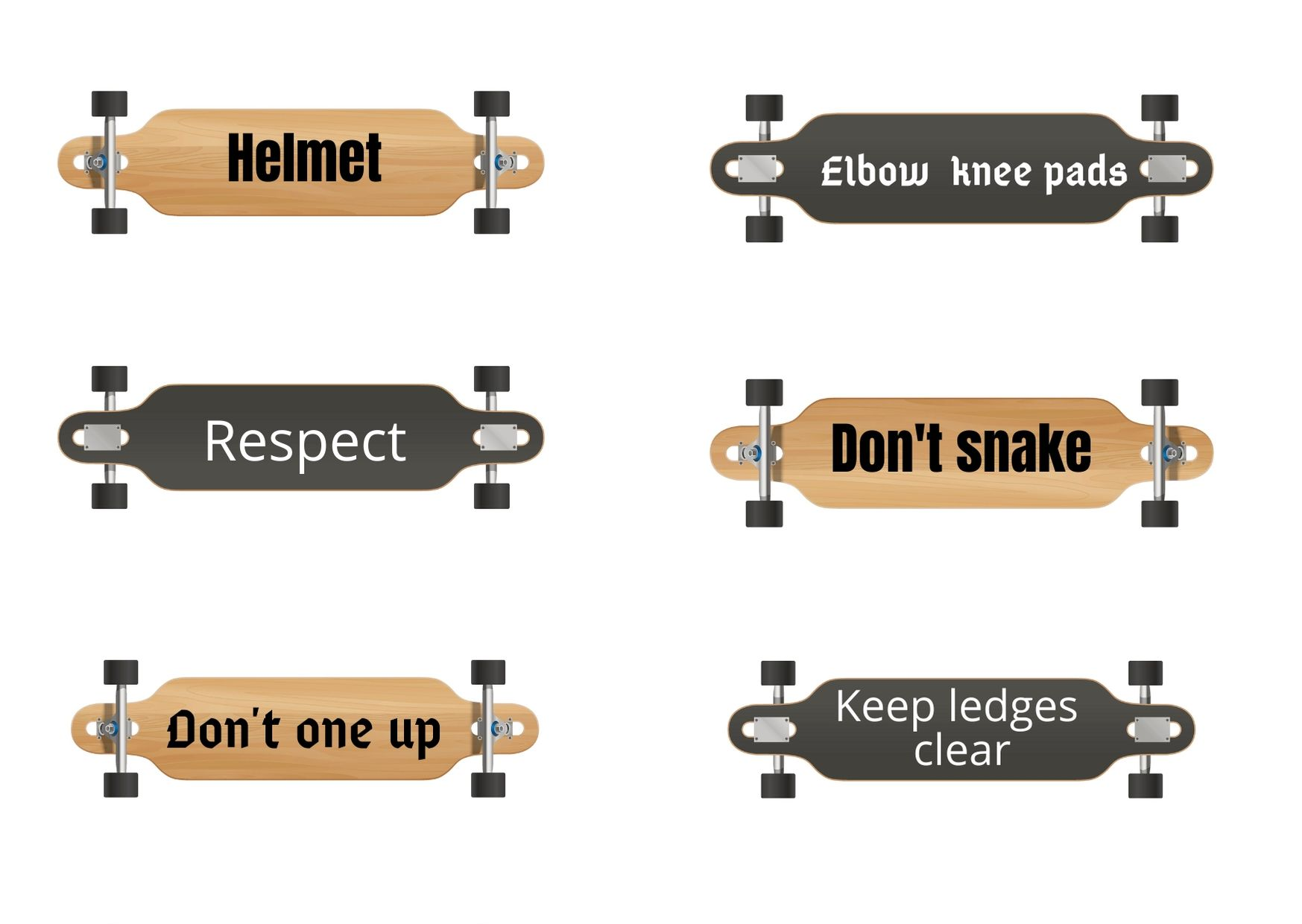 Safety signs on skateboards