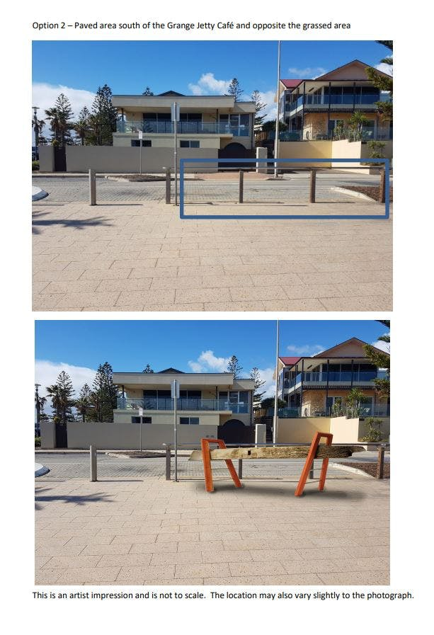 Option 2 - Paved area south of the Grange Jetty Cafe and opposite the grassed area