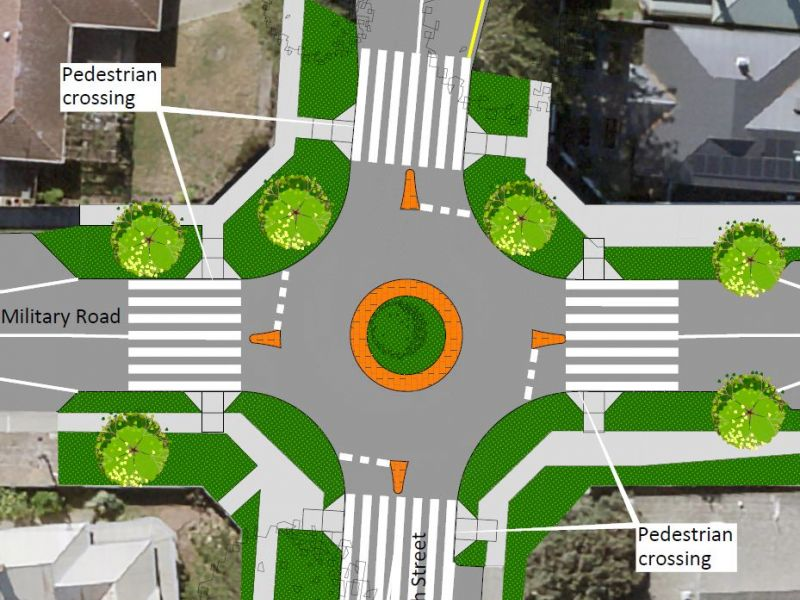 Option 2 - North Street, Pedestrian Priority Roundabout