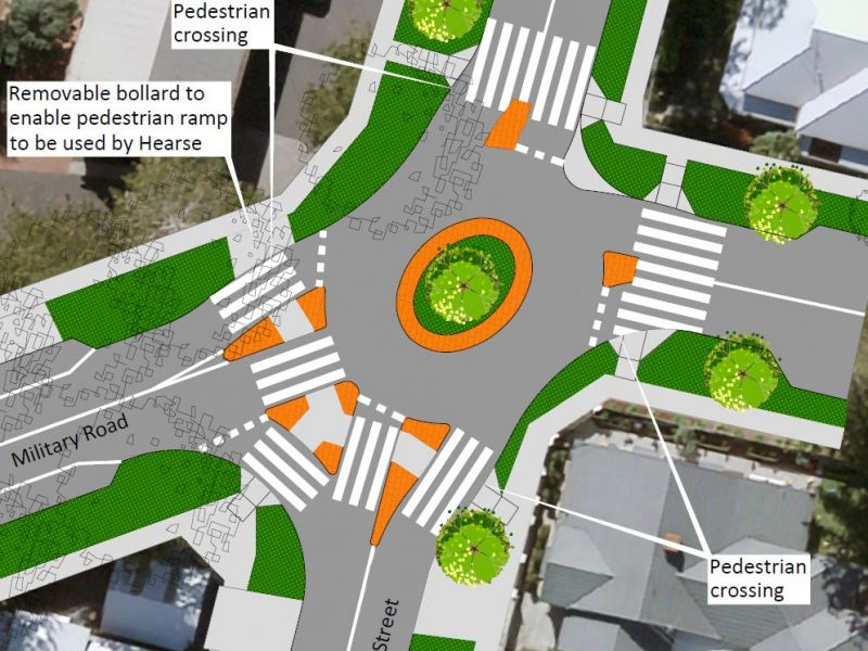Option 2 - South Street, Pedestrian Priority Roundabout