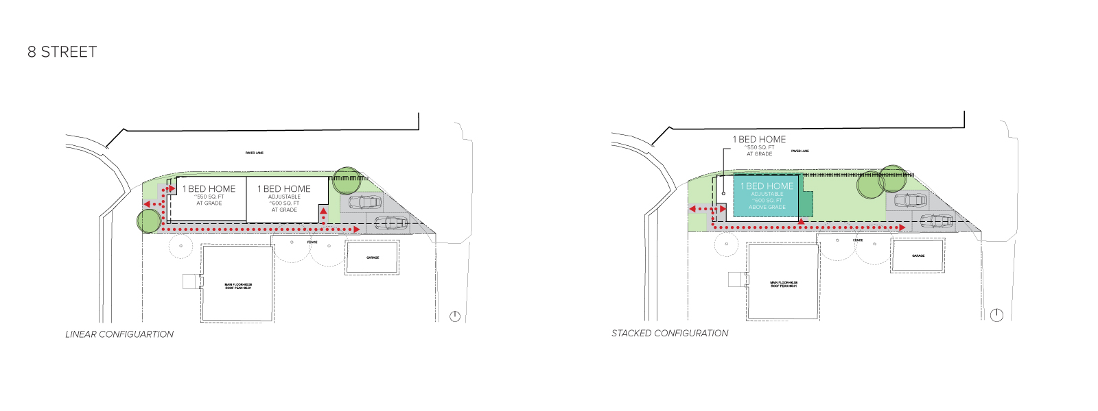 An image of the home configurations on 8 Street.