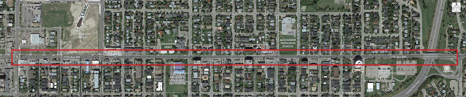 Map of the planning area, 17 Avenue S.W. from Crowchild Trail to 37 Street S.W.