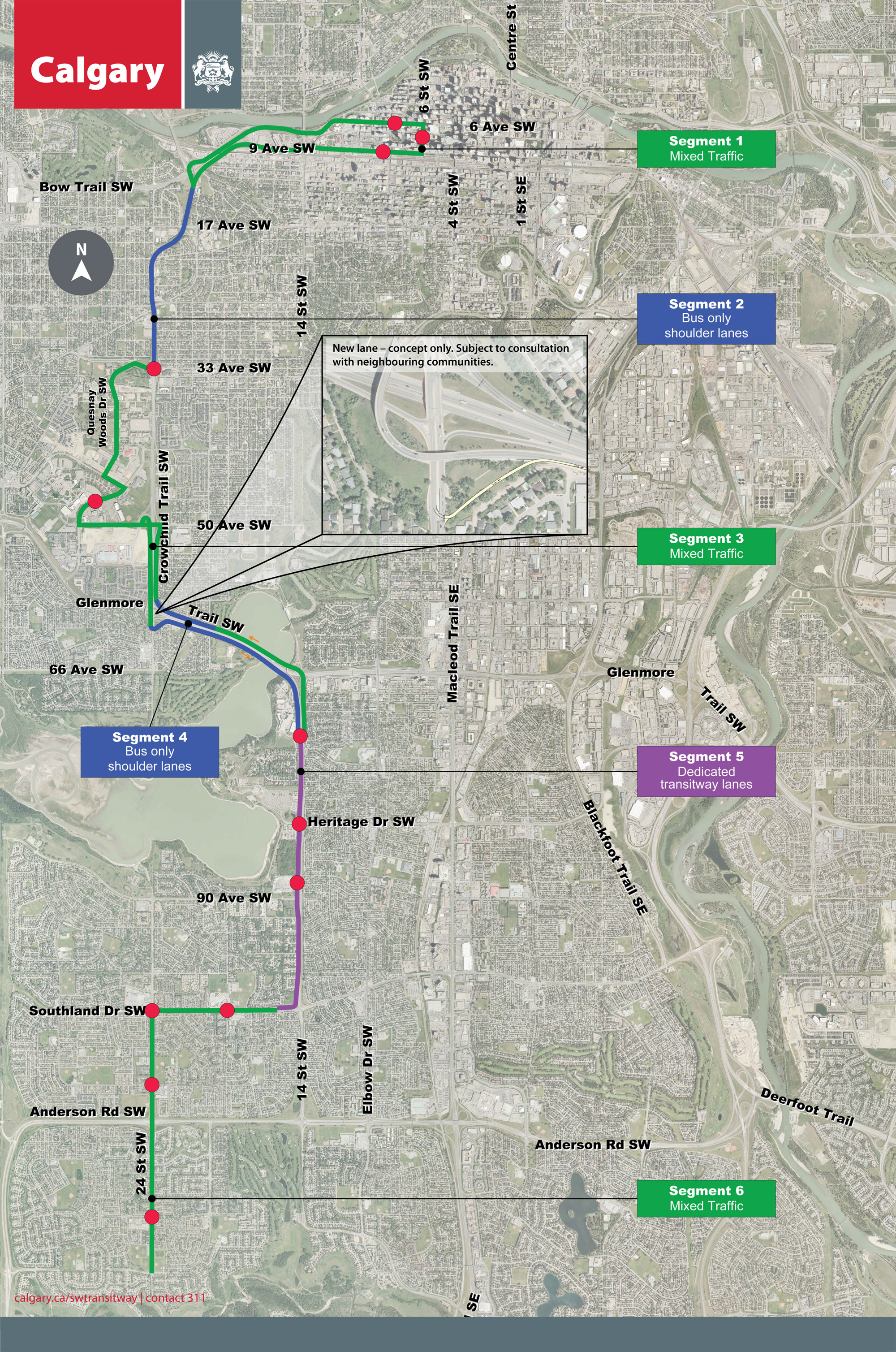 Southwest BRT Route Map and Station Locations